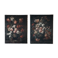 Zwei 18. Jahrhundert Florale Stillleben Gemälde