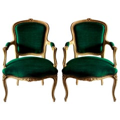 Pair of 18th Century French Armchairs in Emerald Silk