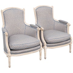 Pair of 18th Century French Bergère with Fortuny Fabric