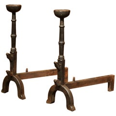 Pair of 18th Century, French Black Wrought Iron Fireplace Andirons with Bowls