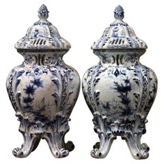 Pair of 18th Century French Blue and White Hand Painted Faience Delft Tureens