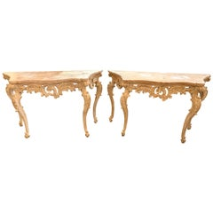 Pair of 18th Century French Carved Pine and Gesso Louis XV Style Consoles