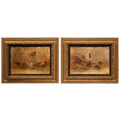 Pair of 18th Century French Chicken Paintings in Giltwood Frames