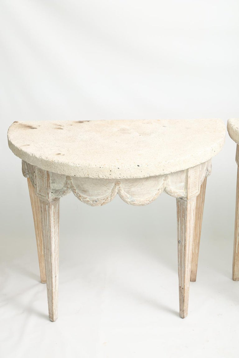 Pair Of 18th Century French Demilune Consoles With
