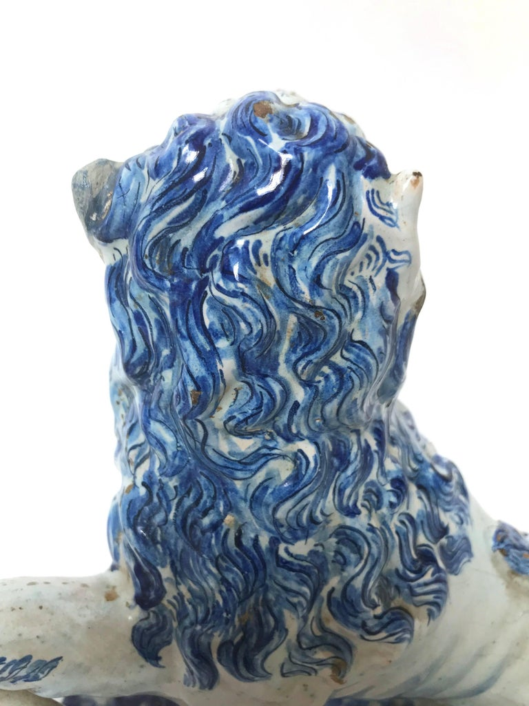 Pair of 18th Century French Faience Lions For Sale 1