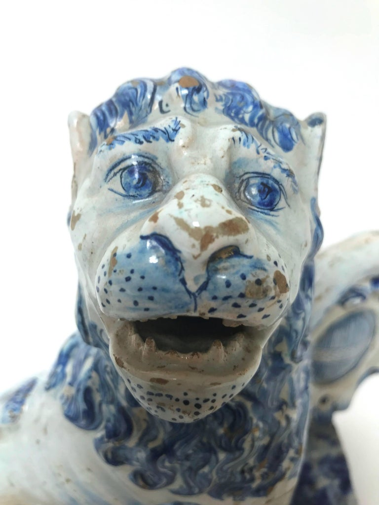 Pair of 18th Century French Faience Lions For Sale 4