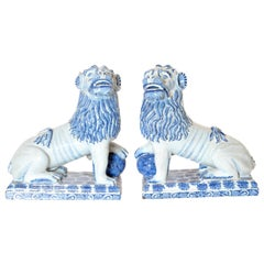 Pair of 18th Century French Faience Seated Lions