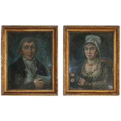 Pair of 18th Century French Folk Art Pastel Portraits