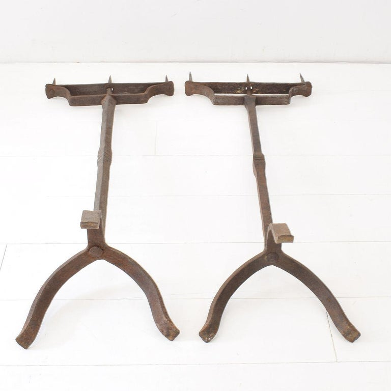 Pair of 18th Century French Hand Forged Iron Candleholders For Sale 11