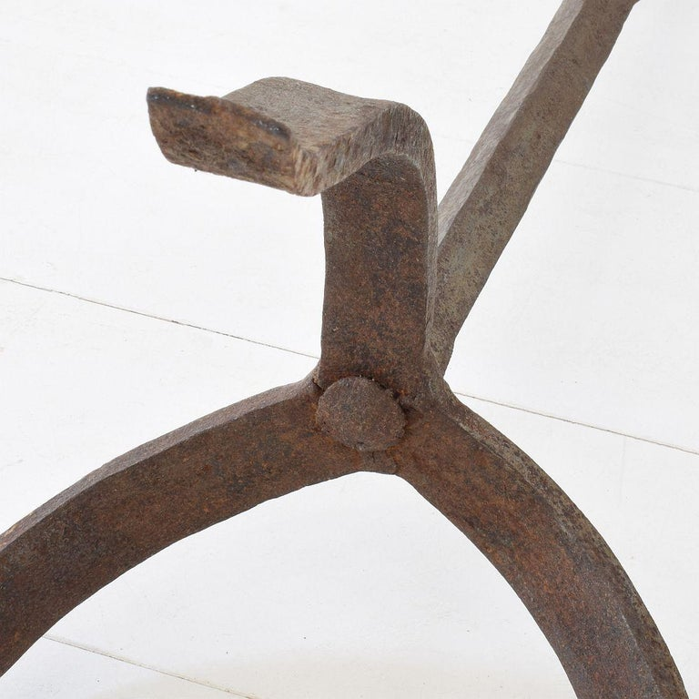 Pair of 18th Century French Hand Forged Iron Candleholders For Sale 12