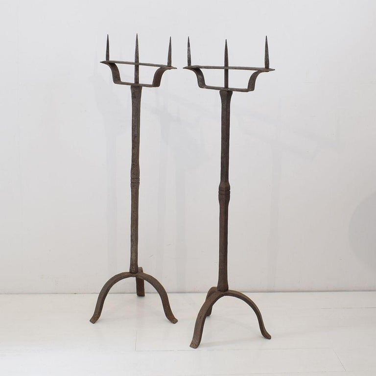 Primitive Pair of 18th Century French Hand Forged Iron Candleholders For Sale