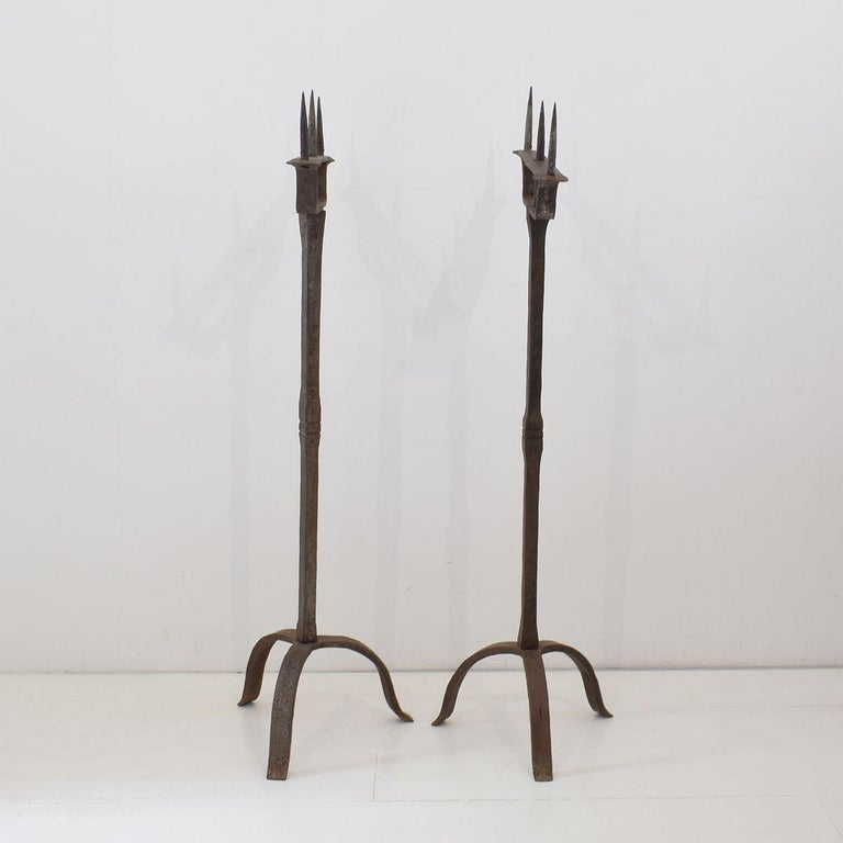 18th Century and Earlier Pair of 18th Century French Hand Forged Iron Candleholders For Sale