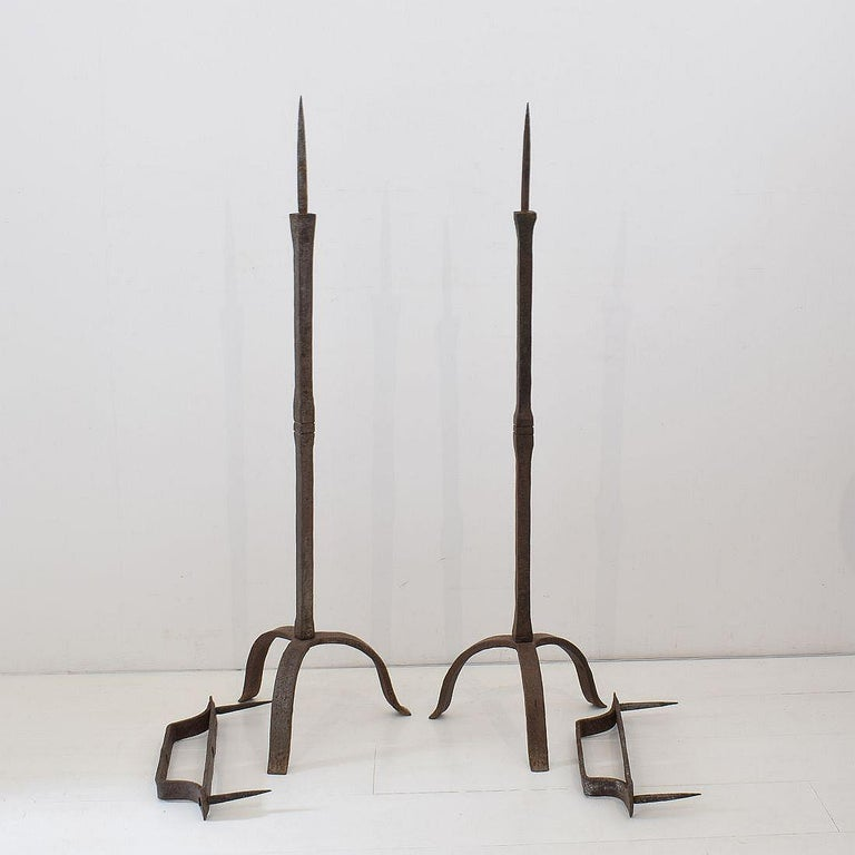 Wrought Iron Pair of 18th Century French Hand Forged Iron Candleholders For Sale