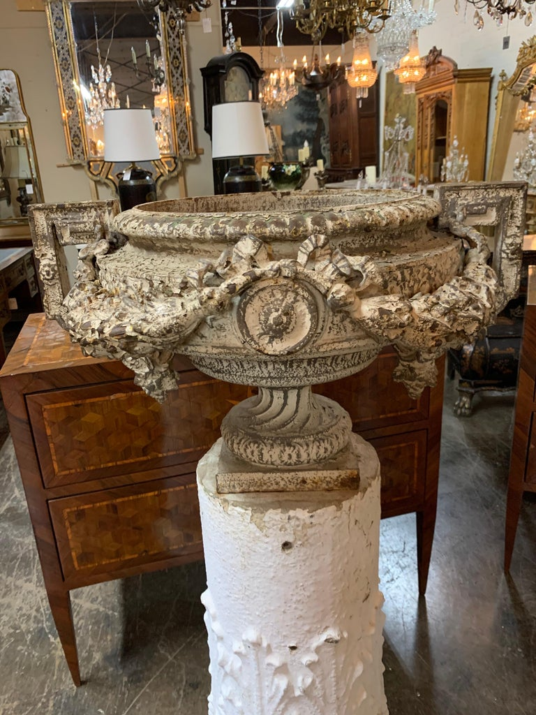 Pair of 18th Century French Iron Garden Urns on Gesso Pedestal Bases In Good Condition For Sale In Dallas, TX