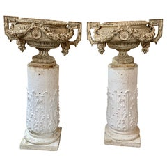 Pair of 18th Century French Iron Garden Urns on Gesso Pedestal Bases