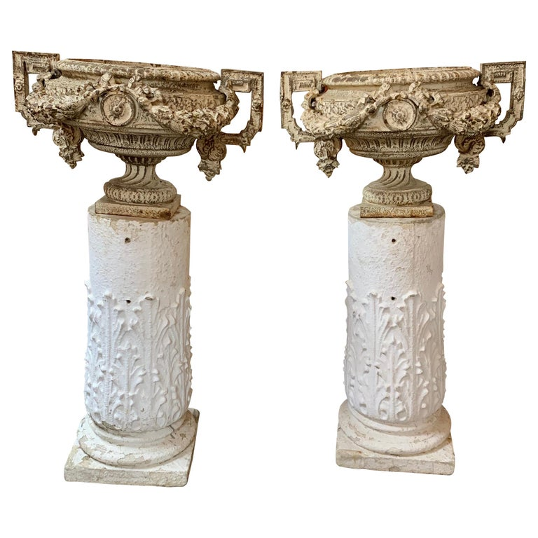 Pair of 18th Century French Iron Garden Urns on Gesso Pedestal Bases For Sale