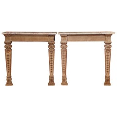 Pair of 18th Century French Louis XIV Carved Oak Wall Consoles with Marble Top