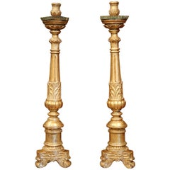 Pair of 18th Century French Louis XV Carved Giltwood Altar Candlesticks