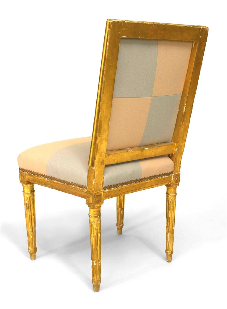 18th Century Pair of French Louis XVI Gilt Side Chairs For Sale