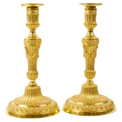 Pair of 18th Century French Louis XVI Neoclassical Gilt Bronze Candlesticks