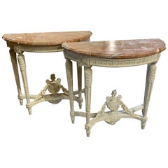 Pair of 18th Century French Louis XVI Style Carved and Painted Consoles