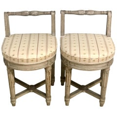 Pair of 18th Century French Musician's Chairs, Diminutive Chair or Stools
