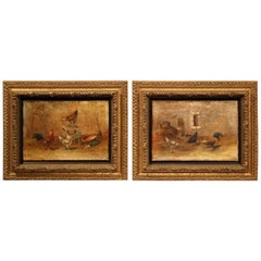 Pair of 18th Century French Oil on Canvas Chicken Paintings in Giltwood Frames
