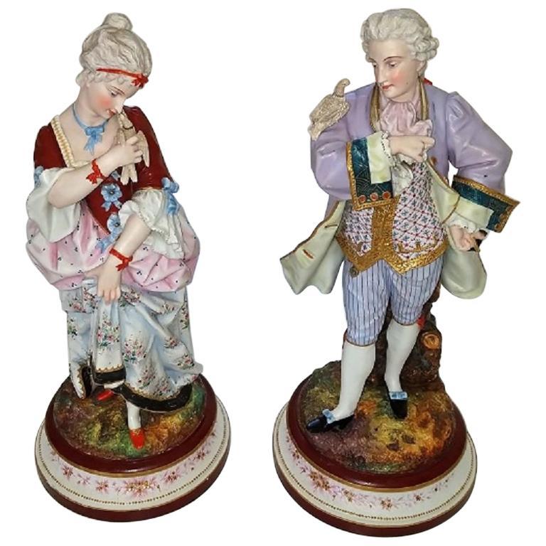 Pair of 19th Century Limoges Monvoisin Porcelain Figurines