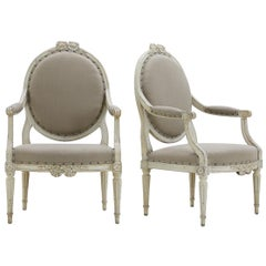 Pair of 18th Century French Painted Armchairs
