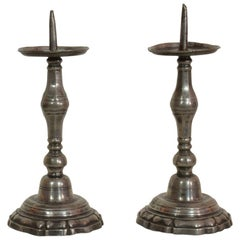 Pair of 18th Century French Pewter Candleholders