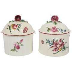 Pair of 18th Century French Porcelain Blush Pots 'Pots à Fard' by Mennecy