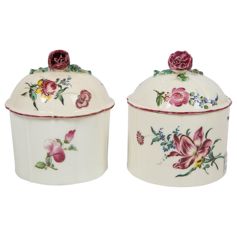 Pair of 18th Century French Porcelain Blush Pots 'Pots à Fard' by Mennecy For Sale