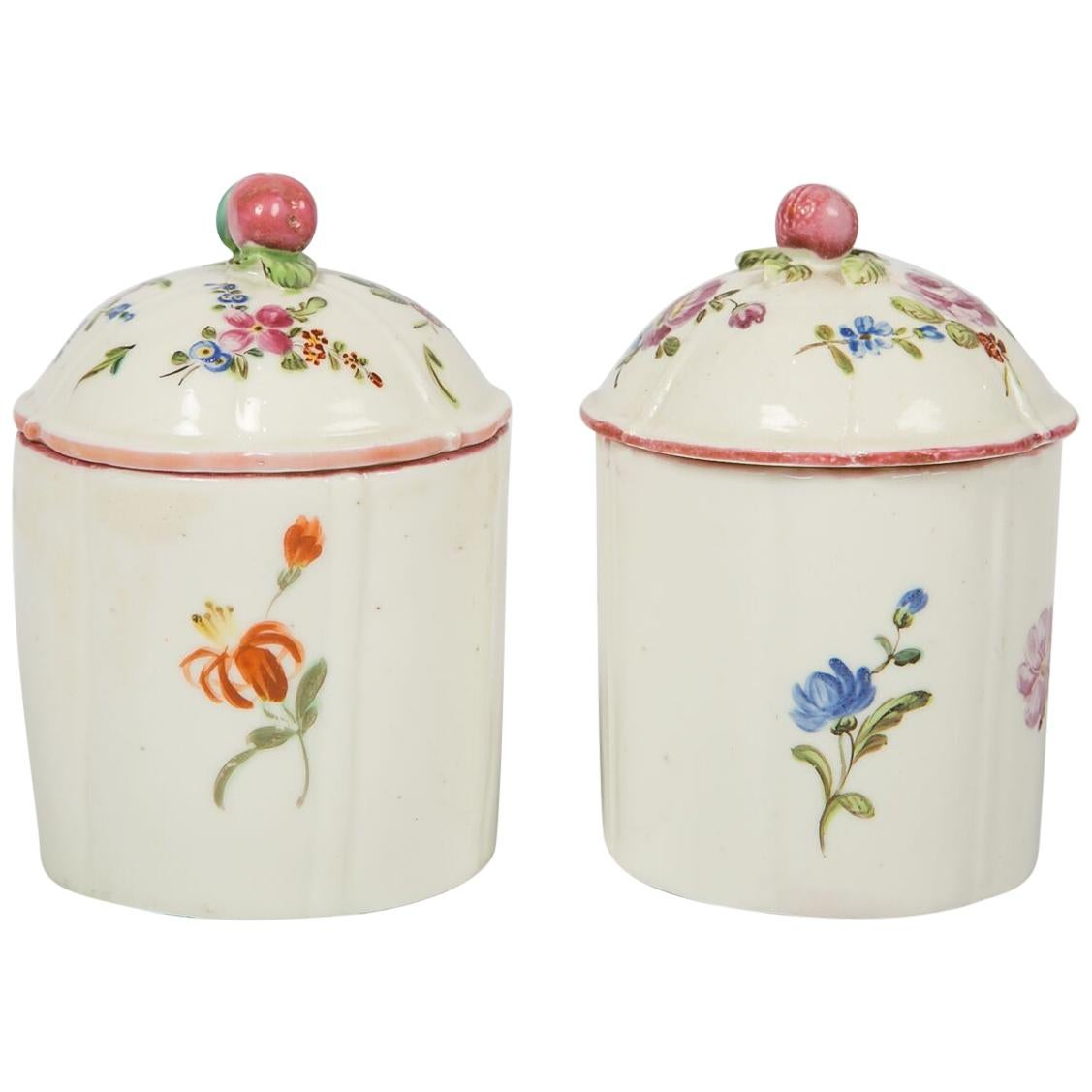 Pair of 18th Century French Porcelain Pots by Mennecy Made circa 1750