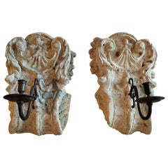 Pair of 18th Century French Stone Sconces