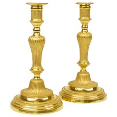 Pair of 18th Century French Transition Louis XVI Gilt Bronze Candlesticks