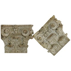 Pair of 18th Century, French Wooden Capitals
