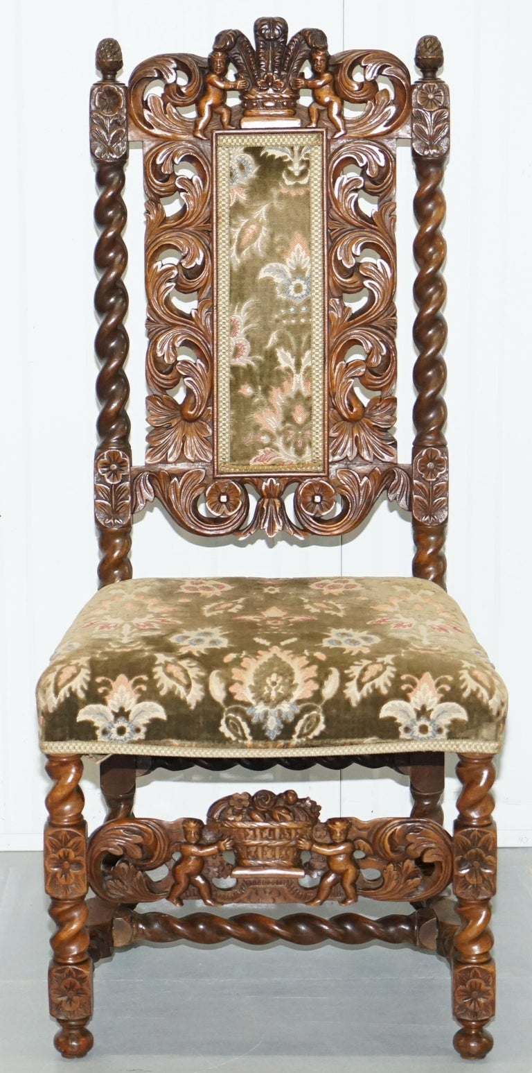 Pair Of 18th Century Fruit Wood Carved Chair Cherubs Holding A Crown And Flowers For