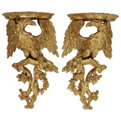 Pair of 18th Century George II Giltwood Eagle Wall Brackets