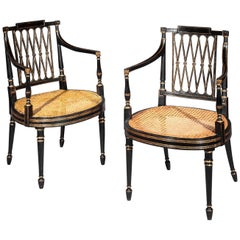 Pair of 18th Century George III Black Painted and Gilt Armchairs