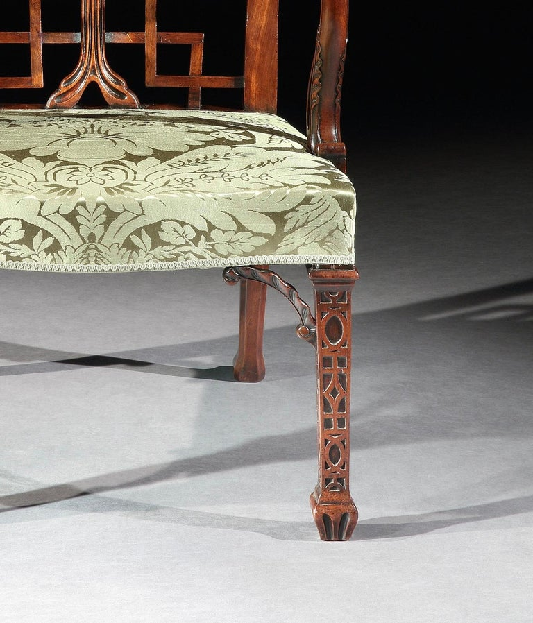 Chinese Chippendale Pair of 18th Century George III Chippendale Mahogany Chinoiserie Armchairs For Sale