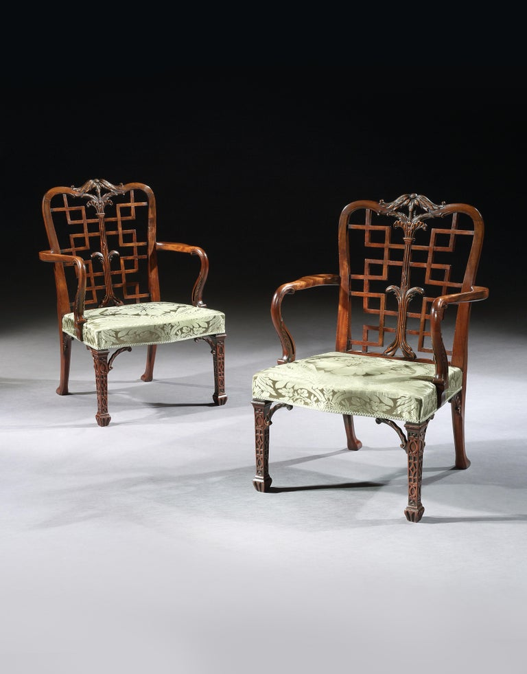 English Pair of 18th Century George III Chippendale Mahogany Chinoiserie Armchairs For Sale