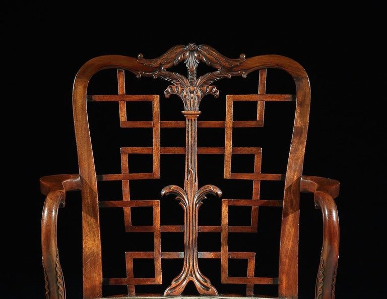 Pair of 18th Century George III Chippendale Mahogany Chinoiserie Armchairs In Good Condition For Sale In London, GB