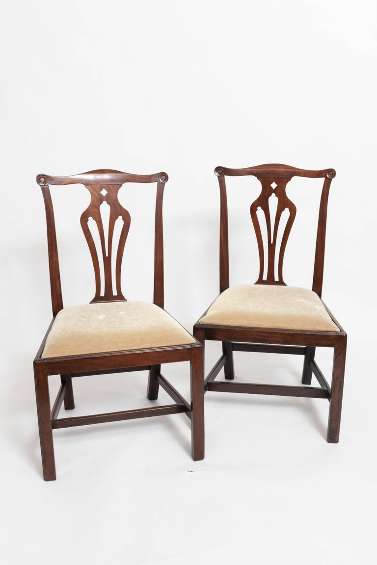 Pair of 18th Century George III Mahogany Side Chairs For Sale 4