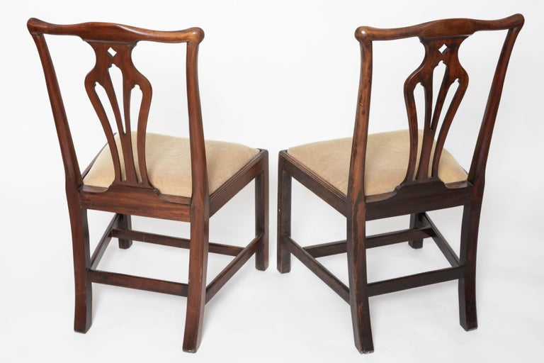 English Pair of 18th Century George III Mahogany Side Chairs For Sale