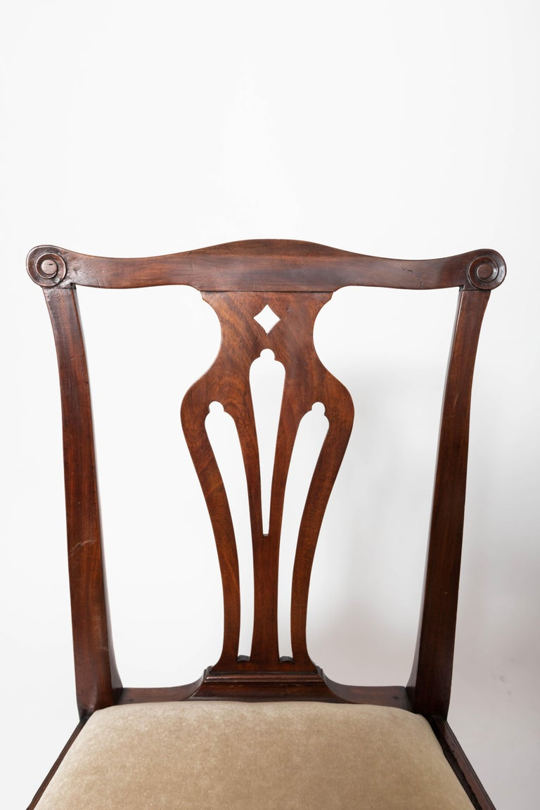 Pair of 18th Century George III Mahogany Side Chairs For Sale 1