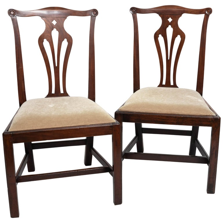Pair of 18th Century George III Mahogany Side Chairs For Sale