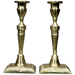 Pair of 18th Century Georgian Brass Candlesticks, England Circa 1775