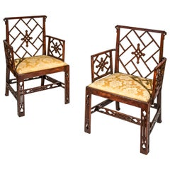Pair of 18th Century Georgian Chippendale Chinoiserie Armchairs