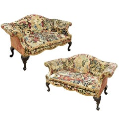 Pair of 18th Century Georgian Chippendale Sofas with Early Needlework
