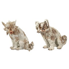 Pair of 18th Century German Porcelain Dogs, circa 1764, Stamped Ludwigsburger